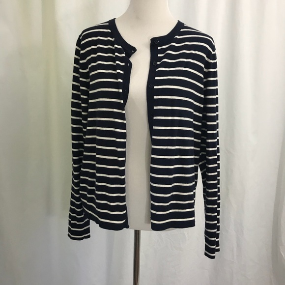 611ab0696 GAP Sweaters | Navy Blue White Striped Silk Blend Cardigan Xl | Poshmark